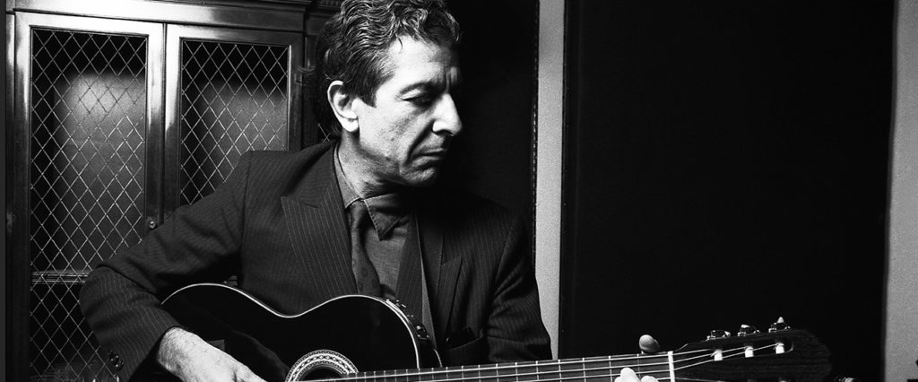 Leonard Cohen, Canadian poet and singer-songwriter, plays some of his songs in a small recording studio, lower Manhattan, New York, mid 1980s. (Photo by Oliver Morris/Getty Images)