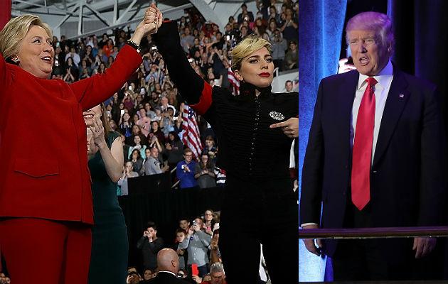 Hilary Clinton, Lady Gaga and Donald Trump