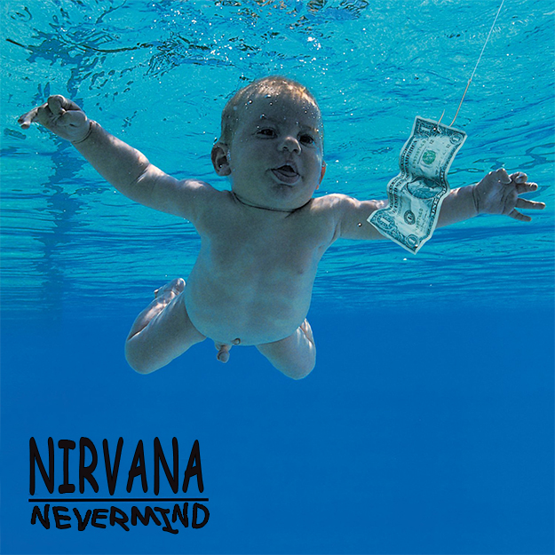 Nirvana - 'Nevermind' (in Comic Sans)