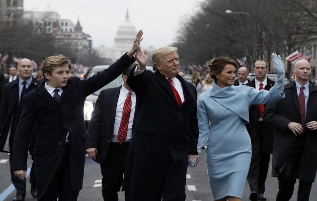 Donald and Melania Trump and their son Barron