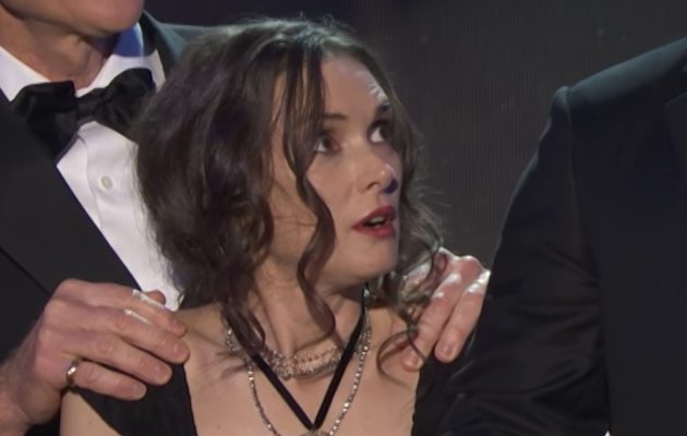 Winona Ryder reacts to Stranger Things co-star David Harbour's speech at the SAG Awards 2017