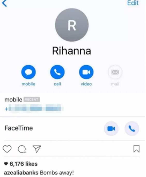 Azealia Banks reveals Rihanna's phone number online