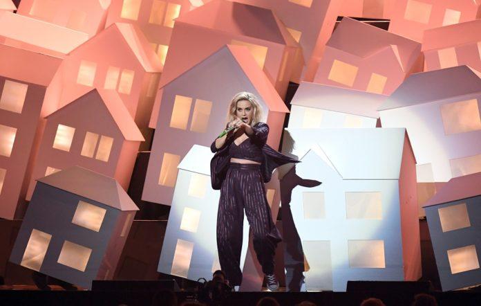 Katy Perry performing at the BRIT Awards