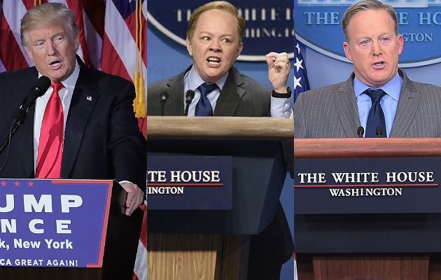 Donald Trump, Melissa McCarthy and Sean Spicer