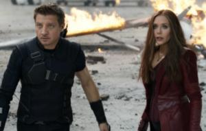 Jeremy Renner as Hawkeye, Elizabeth Olsen as Scarlet Witch