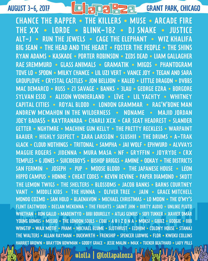 The line-up for Lollapalooza 2017