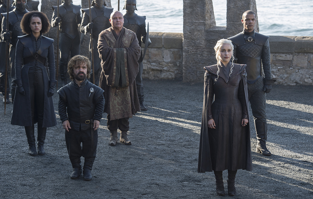 Daenerys, Grey Worm, Varys, Tyrion and Missandei in Game of Thrones season 7