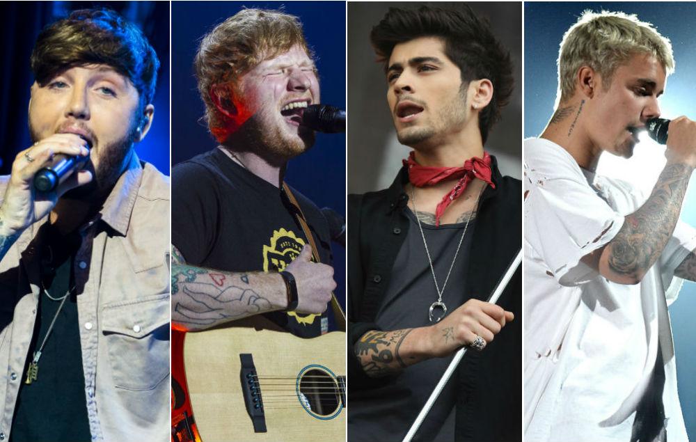 James Arthur, Ed Sheeran, Zayn, Justin Bieber
