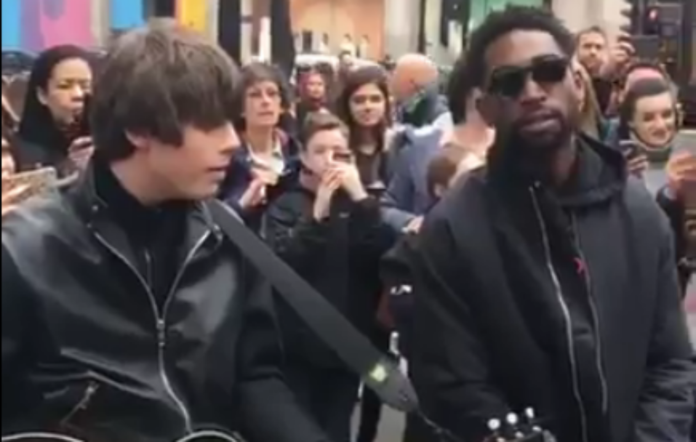 Jake Bugg and Tinie Tempah busking in central London