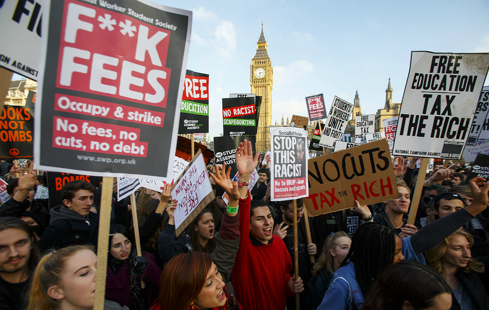 Students protesting against university tuition fees