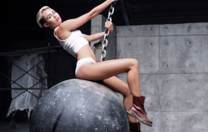 Miley Cyrus in the 'Wrecking Ball' video