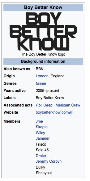 Jeremy Corbyn joins Boy Better Know on Wikipedia