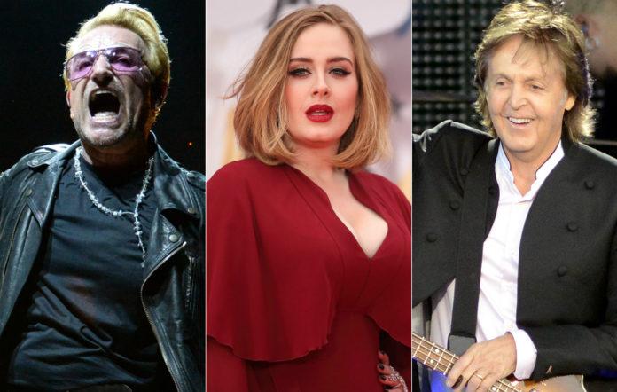 Bono, Adele and Sir Paul McCartney