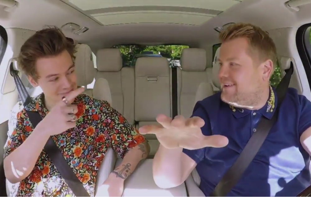 Harry Styles and James Corden