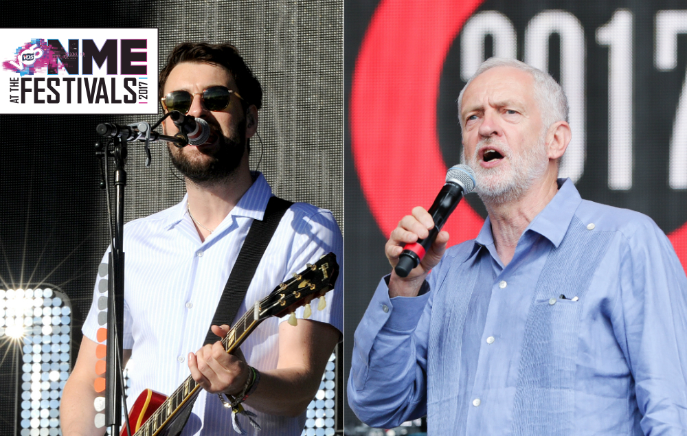 The Courteeners' Liam Fray and Jeremy Corbyn at Glastonbury 2017