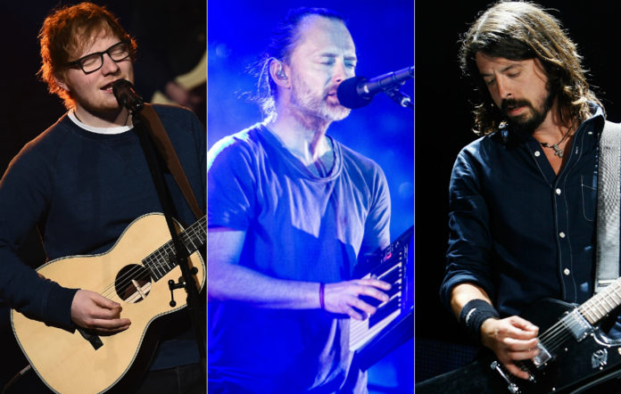 Ed Sheeran, Radiohead's Thom Yorke and Foo Fighters' Dave Grohl