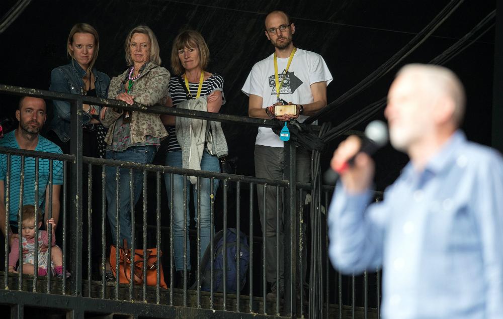 Emily Eavis and Jeremy Corbyn at Glastonbury