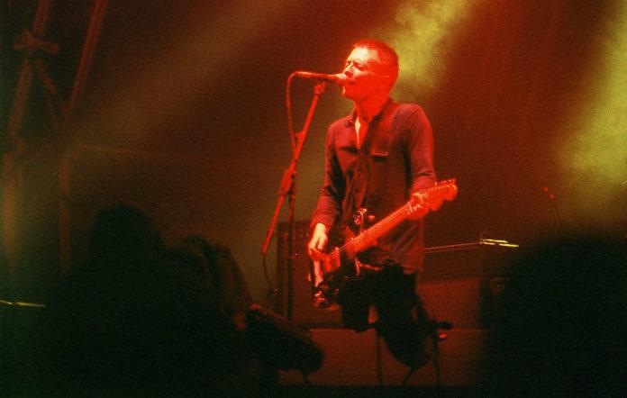 Radiohead's Thom Yorke on stage at Glastonbury 1997