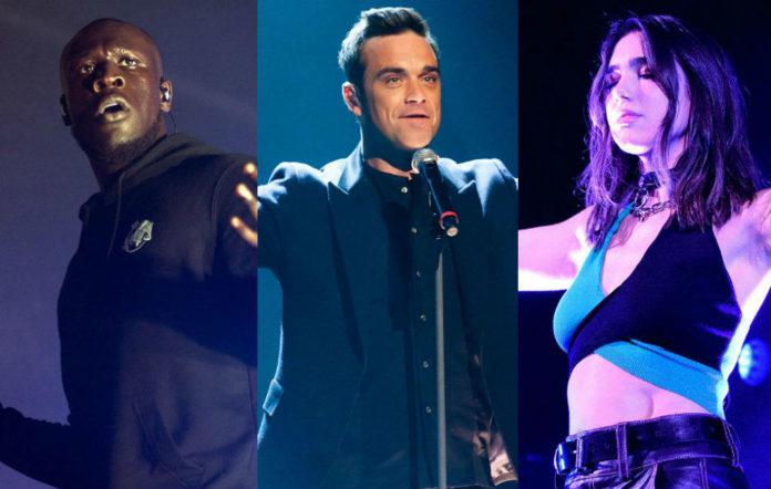 Stormzy, Robbie Williams and Dua Lipa