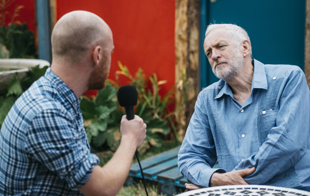 Mike Williams and Jeremy Corbyn at Glastonbury 2017
