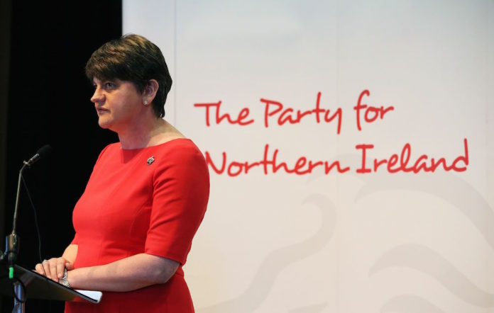 Party leader Arlene Foster at the launch of the DUP manifesto