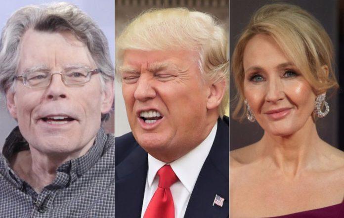 Stephen King (L), Donald Trump (C), JK Rowling (R)