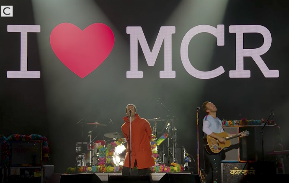Liam Gallagher and Coldplay at the On Love Manchester concert