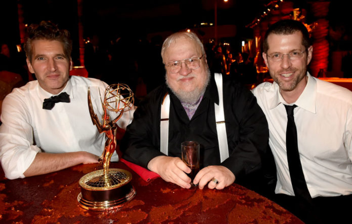 Game of Thrones creators David Benioff and D.B. Weiss with George R.R. Martin