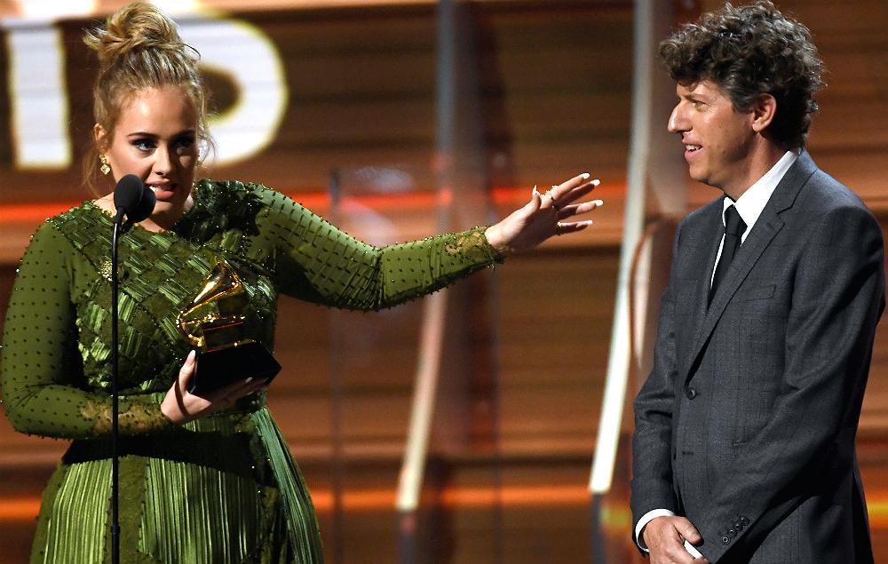 Adele with Greg Kurstin at the Grammy Awards