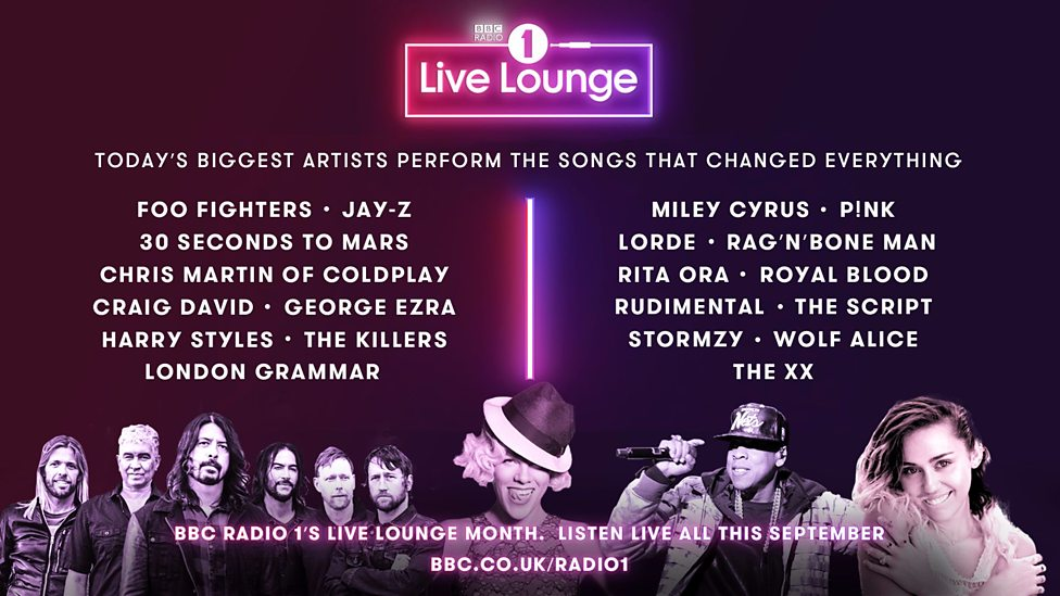 The line-up for BBC Radio One's Live Lounge month in September
