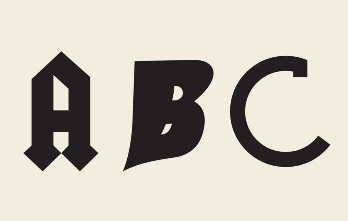 Classic rock font ABC