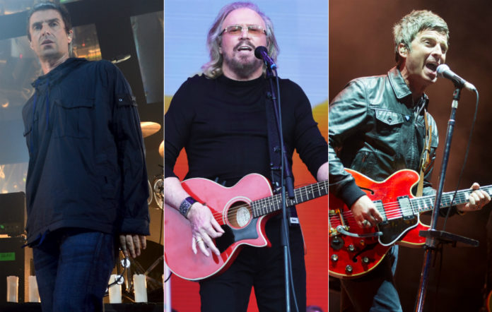 Liam Gallagher, Barry Gibb and Noel Gallagher