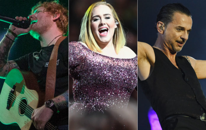 Ed Sheeran, Adele and Dave Gahan of Depeche Mode