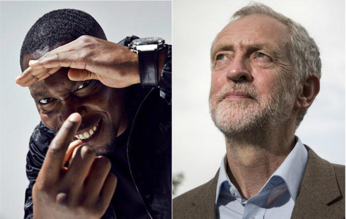 Dizzee Rascal and Jeremy Corbyn