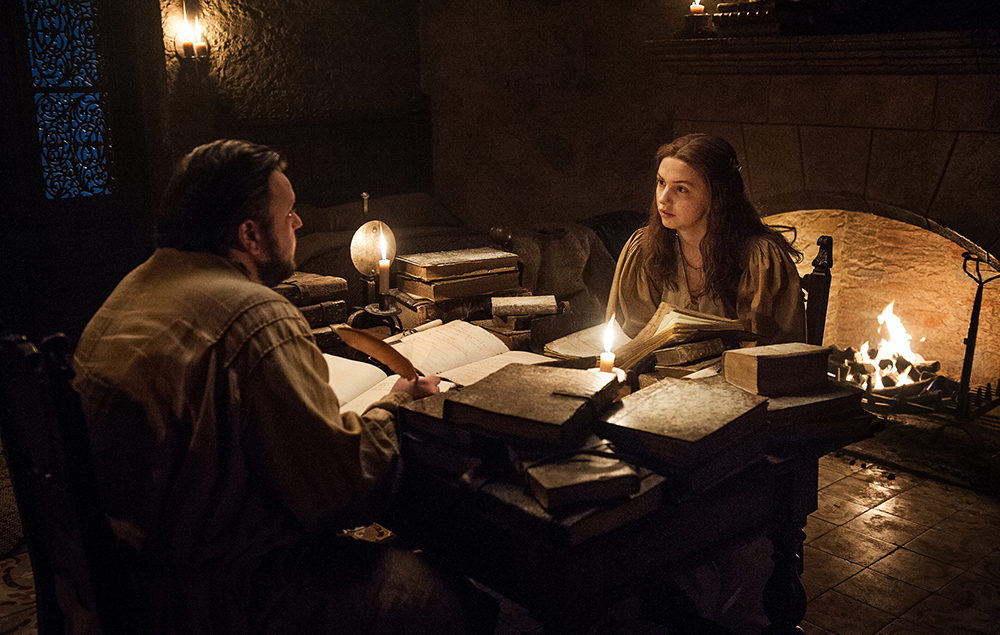 John Bradley as Samwell Tarly and Hannah Murray as Gilly in Game of Thrones season 7 episode 5:Eastwatch