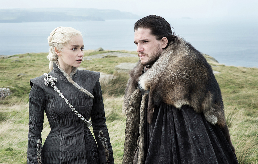 Emilia Clarke as Daenerys Targaryen and Kit Harington as Jon Snow in Game of Thrones season 7 episode 5:Eastwatch