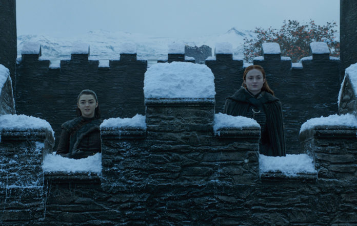 Maisie Williams as Arya Stark and Sophie Turner as Sansa Stark in Game of Thrones season 7, episode 7 – The Dragon and The Wolf