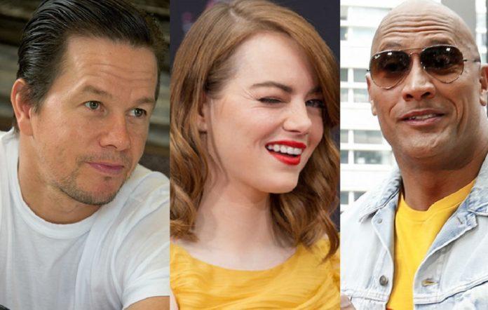 Mark Wahlberg, Emma Stone and Dwayne Johnson