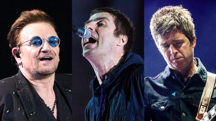 Bono, Liam Gallagher and Noel Gallagher