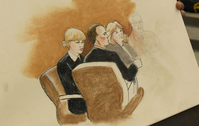 A courtroom sketch of Taylor Swift