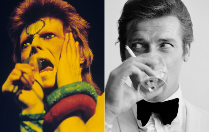 David Bowie and Roger Moore