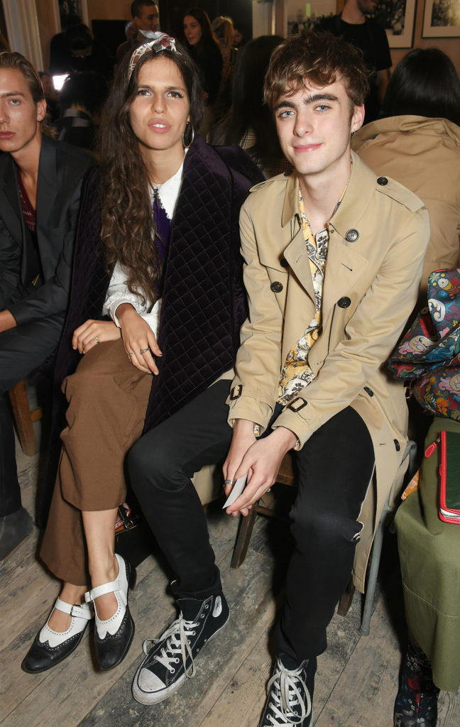 Hayett McCarthy (L) and Lennon Gallagher wearing Burberry at the Burberry September 2017 at London Fashion Week at The Old Sessions House on September 16, 2017 in London, England