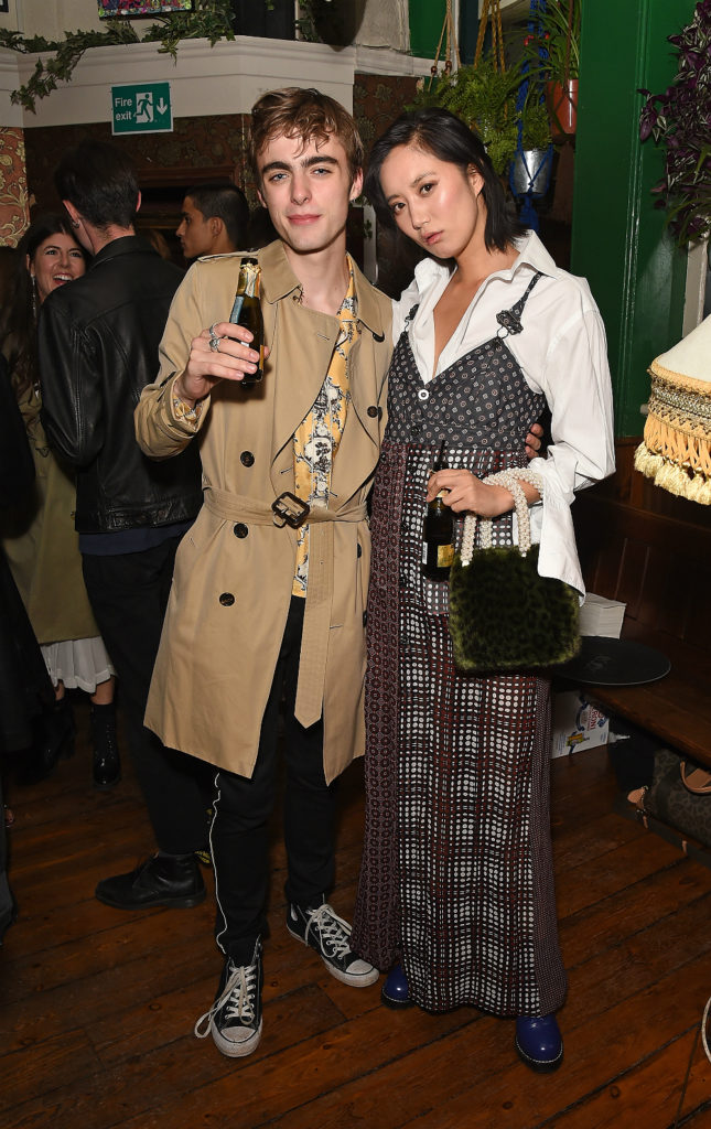 Lennon Gallagher and Betty Bachz celebrate Burberrys September collection and the Dazed Burberry cover shot by Angelo Penetta during London Fashion Week on September 16, 2017 in London, United Kingdom.