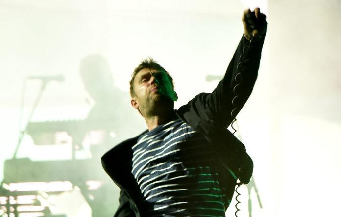 Damon Albarn on stage with Gorillaz