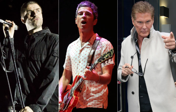 Liam Gallagher, Noel Gallagher and David Hasselhoff