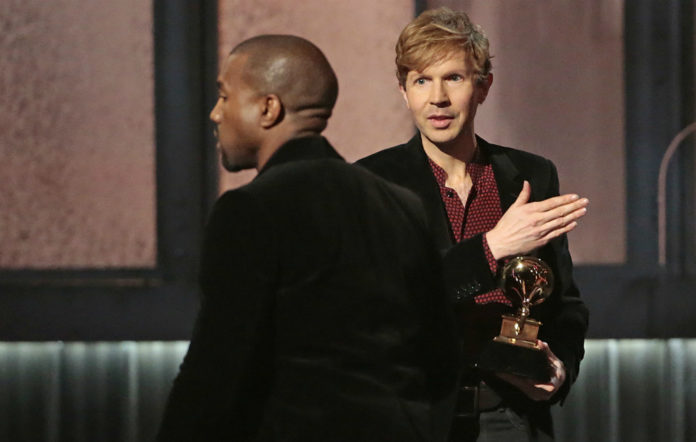 Beck and Kanye West at the 2015 Grammys