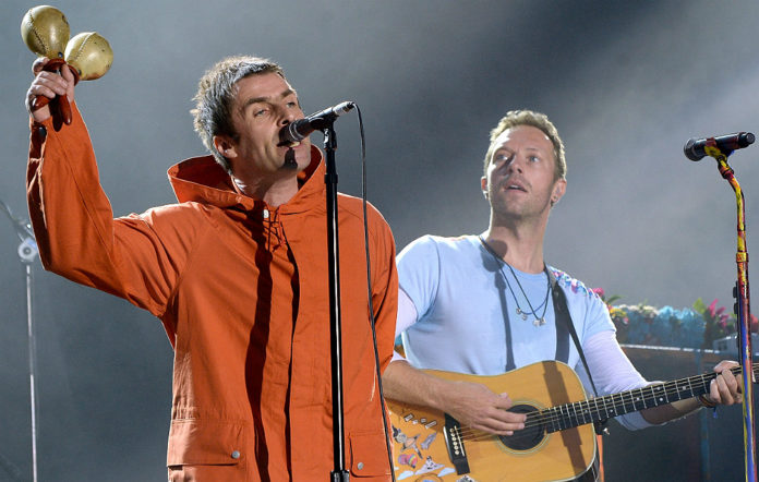 Liam Gallagher and Coldplay's Chris Martin at the One Love Manchester concert