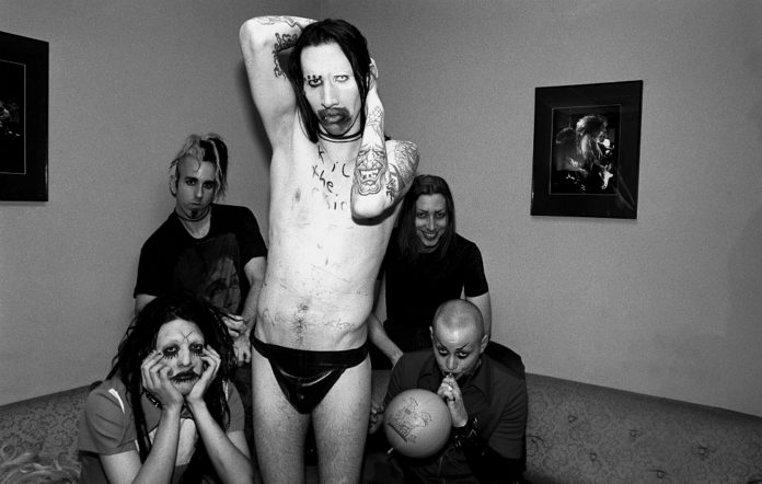 Clockwise: Twiggy Ramirez, Ginger Fish, Marilyn Manson, Daisy Berkowitz, and Madonna Wayne Gacy - in June 1995 in New York City, New York. The band were the musical guests on the show