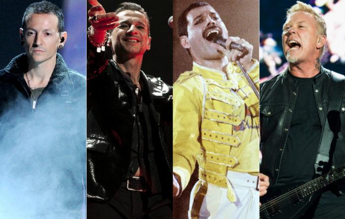 Chester Bennington, Dave Gahan, Freddie Mercury and James Hetfield