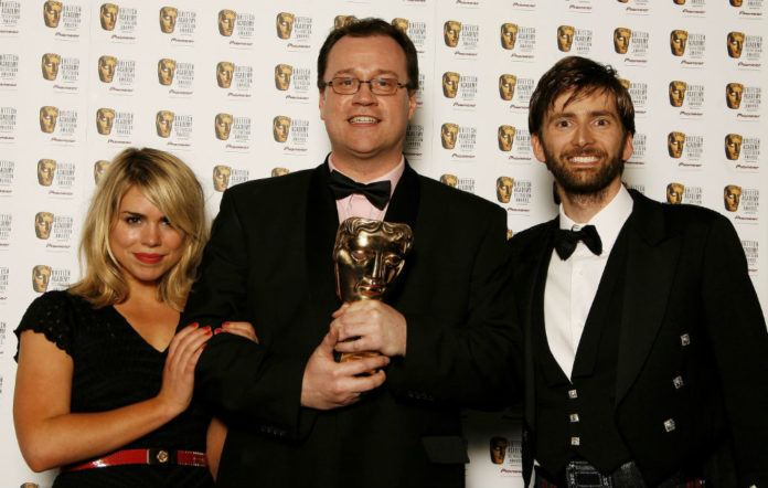 Russell T Davies with Billie Piper and David Tennant